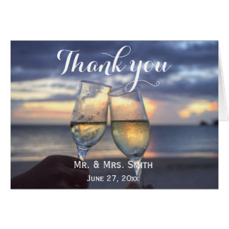 Custom Sunset On The Beach Wedding Thank You Cards