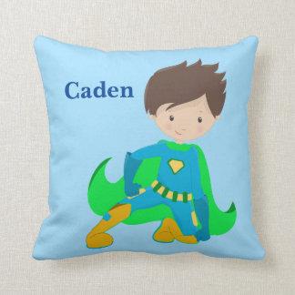 Custom Superhero Blue Throw Pillow