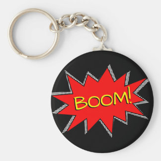 Custom Superhero Bomb Boom Sound Effect Template Keychain