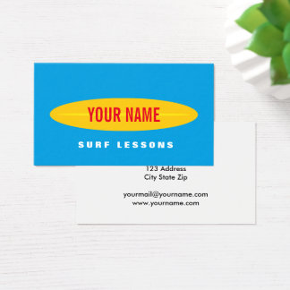 Custom surf instructor business card template