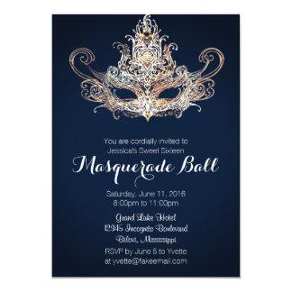 "Custom Sweet Sixteen Masquerade Ball - Navy 5"" X 7"" Invitation Card"