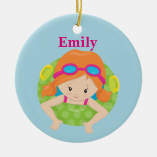 Custom Swim Girl Round Ceramic Ornament