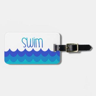 Custom Swim Theme Luggage Tag | Blue and Teal