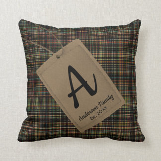 Custom tag with family name monogram plaid texture throw pillow