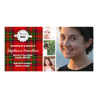 Custom tartan photo graduation card