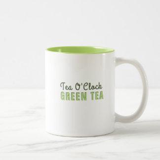 Custom Tea O Clock Green Tea Two-Tone Coffee Mug
