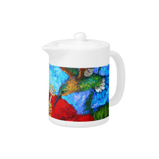 Custom Tea Pot With Hummingbirds Painting