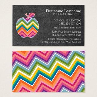 Custom Teacher Apple with Trendy Chevron Pattern Business Card