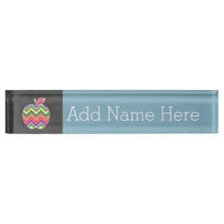 Custom Teacher Apple with Trendy Chevron Pattern Desk Nameplates