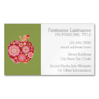 Custom Teacher Apple with Trendy Floral Pattern Magnetic Business Card