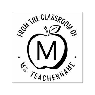 Custom Teacher Classroom Monogram Modern Apple Self-inking Stamp