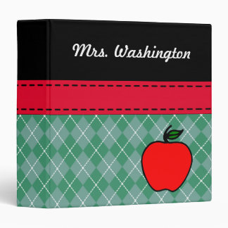 Custom Teacher's Apple Lesson Plan Organizer Gift Vinyl Binders