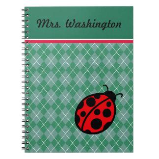 Custom Teacher's Ladybug  School Notebook Gift