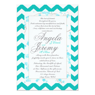 Custom teal chevron flowers wedding invitation