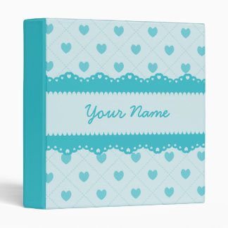 Custom Teal Lace Hearts 3 Ring Binder