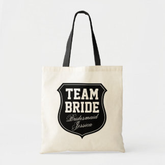 Custom Team Bride tote bags for wedding party