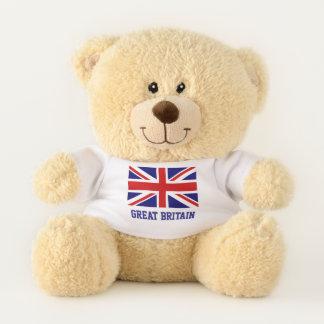 Custom teddy bear with British Union Jack flag