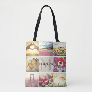 Custom template photo collage monogram tote bag