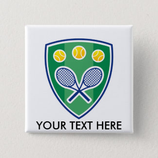 Custom tennis gift for club or tournament 2 inch square button