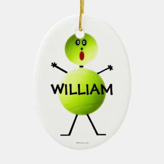Custom Tennis Player Ceramic Oval Ornament