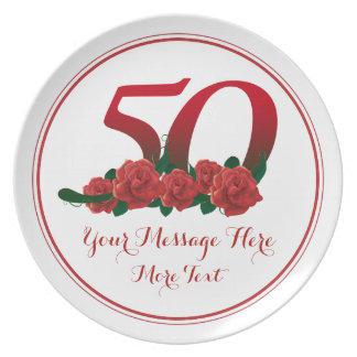 Custom text 0th birthday anniversary 50 plate