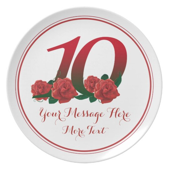 Custom text 10th Wdding anniversary 10 plate