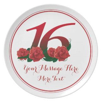 Custom text 16th birthday anniversary 16 plate
