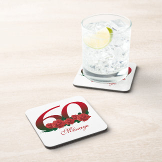 Custom text 60th drink coasters