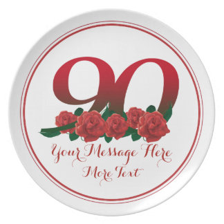 Custom text 90th birthday number 90 floral plate