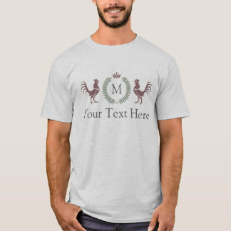 Custom Text and Initial Rooster Design T-Shirt
