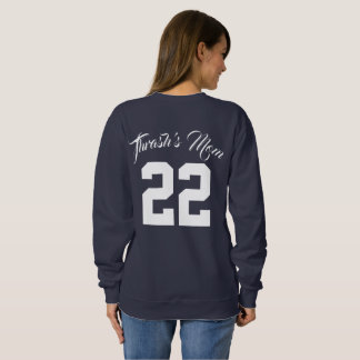 Custom Text and Jersey Number Sports Mom Sweatshirt