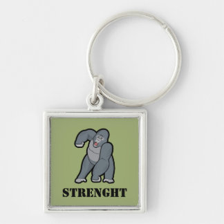 Custom Text Angry Gorilla Silver-Colored Square Keychain
