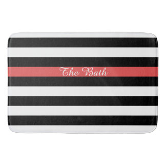Custom Text Black Red and White Striped Bath Mat