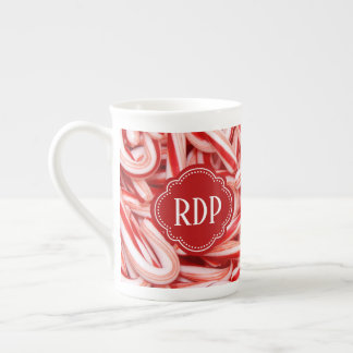 Custom Text Candy Cane Holiday Bone China Mug