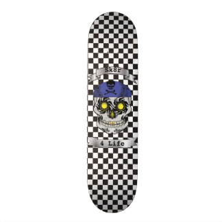 Custom Text Checkered Motorcycle Candy Skull Deck Custom Skate Board