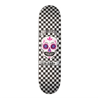 Custom Text Checkered Pink Candy Skull Deck Skateboards