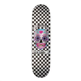 Custom Text Checkered Rose Candy Skull Deck Skateboards