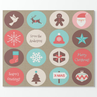 Custom Text Christmas Icon Large Medallions Wrapping Paper