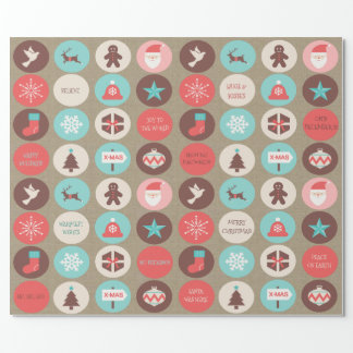 Custom Text Christmas Icons Small Medallions Wrapping Paper