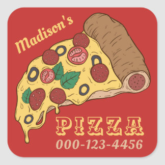 Custom text  & color PIZZA stickers