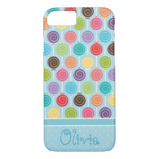 Custom Text Cute and Colorful Lollipop iPhone 7 Case