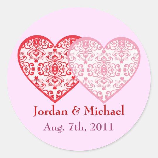 Custom Text Damask Heart Wedding Sticker