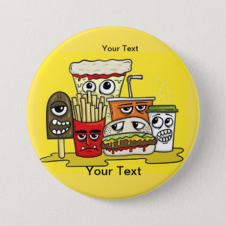 Custom Text Fast Food 3 Inch Round Button
