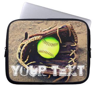 Custom Text Fastpitch Softball Laptop Sleeve