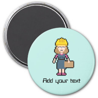 Custom Text Female Engineer Magnet