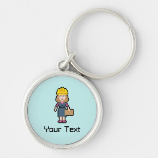 Custom Text Female Engineer Silver-Colored Round Keychain