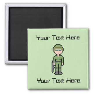 Custom Text Female Soldier Square Magnet