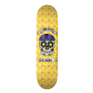 Custom Text Flames Motorcycle Candy Skull Deck Skateboard Deck