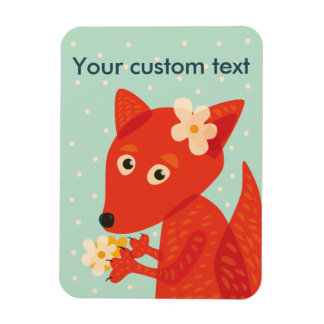 Custom Text Flowers And Cute Fox Magnet