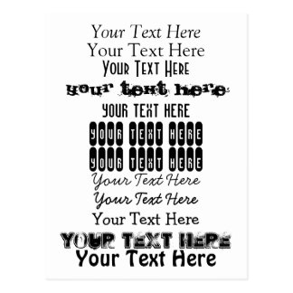 Custom Text. Fonts Postcard no. 12. Your Text Here